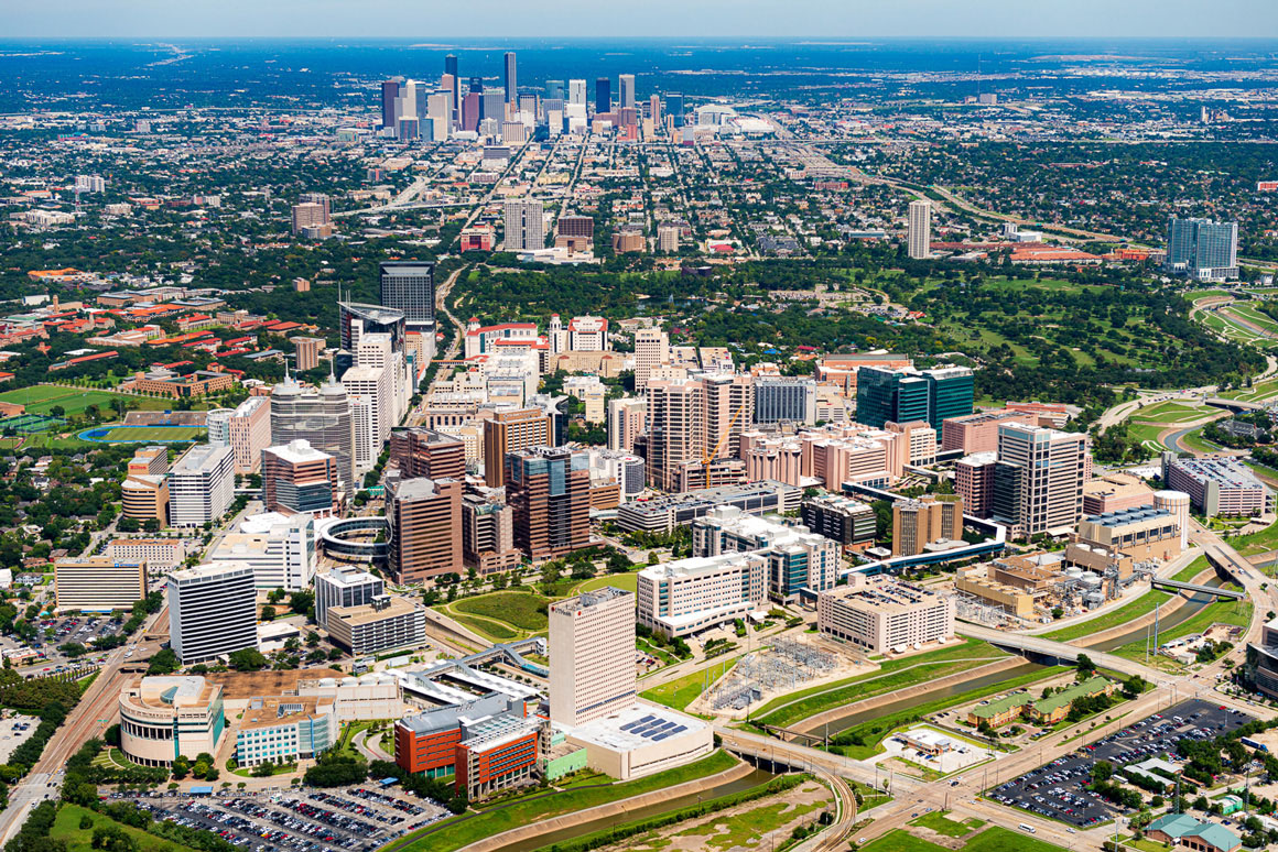 Aerial photo of the medical center with Houston, Texas in the background.