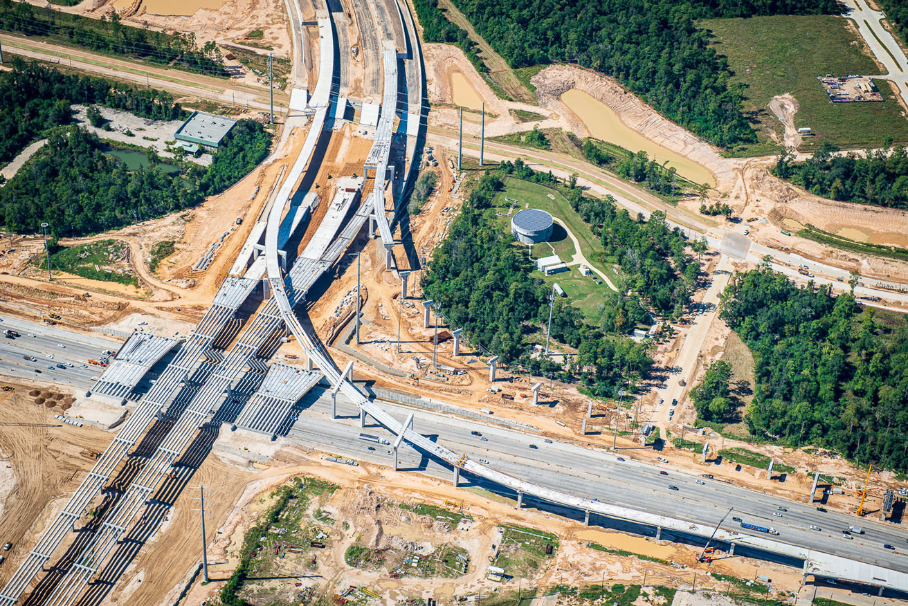 Aerial photograph of construction progress of highway in Houston, Texas.