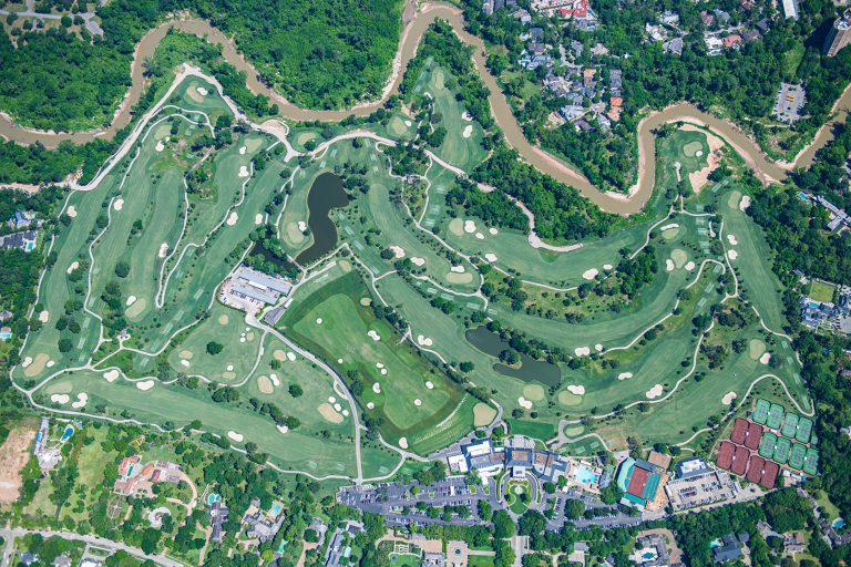 Vertical aerial photo of Houston golf course.