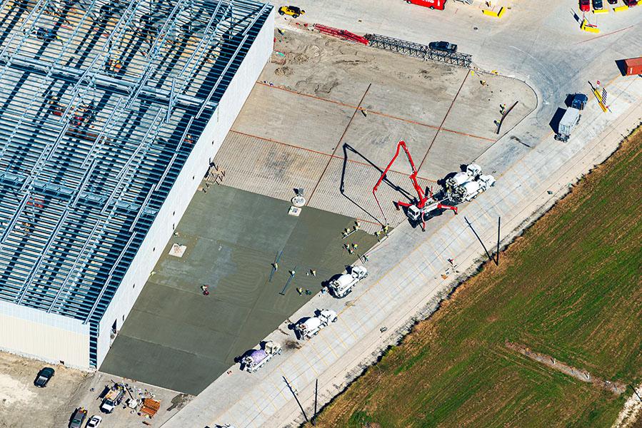 Drone aerial photo of construction progress near Houston, Texas