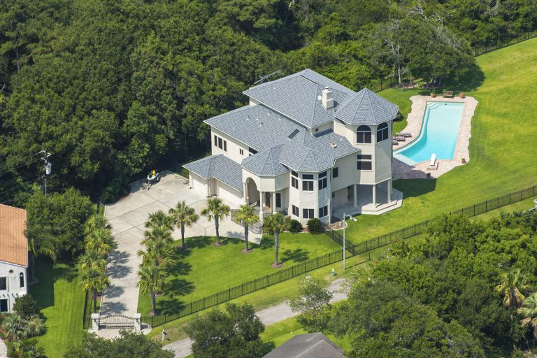 Real Estate aerial photo of home near Houston