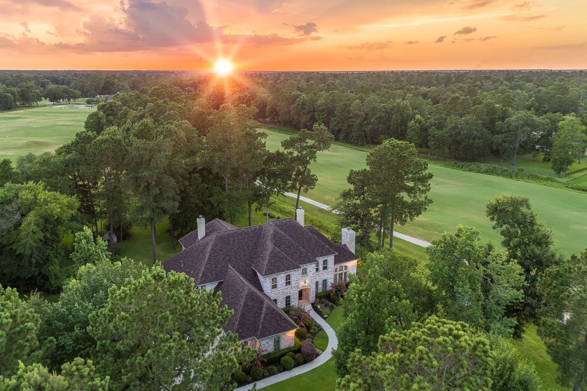Example of a drone aerial photo of real estate near Houston, Texas