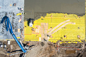 Vertical aerial photography example of construction progress photography in Houston.